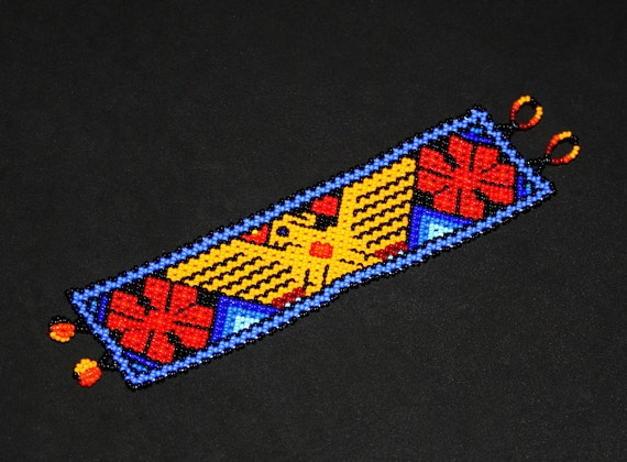 Huichol Eagle Bracelet, Native American Indian Bracelet, Indian Eagle Bracelet, Thunderbird Bracelet, Mexican Indigenous Jewelry