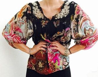Gipsy Chiffon Tunic Tropical print  / Boho Chic Style/ Bohemian gypsy Summer Tunic Top / Small