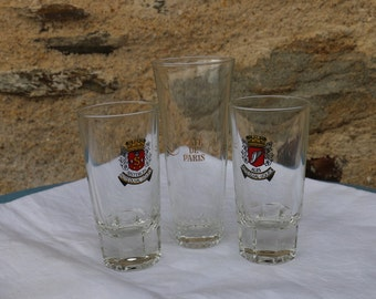 Set of 3 French Vintage glasses. French Vintage Cafe bar Chic.