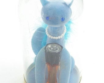 Vintage Max Factor Hypnotique Perfume, Blue Sophisti-Cat in original packaging, 1960s, perfume.