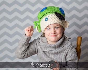 READY TO GO, Knitted pirate beanie, crocheted pirate hat for  kids 5-10 years old