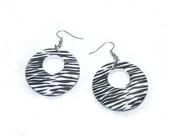 Zebra Earrings, Sale - Drop Hoop / Dangle Hoop, Black and White Striped, Animal Print - Clearance