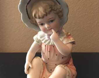 Vintage Andrea by Sadek Bisque Piano Baby Handpainted.