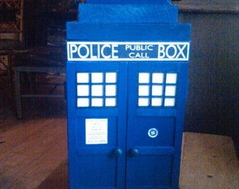 Handcrafted wooden Tardis jewelry box