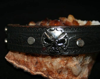 Leather cuff bracelet - Goth - handmade - one of a kind - Cuff You by Suz