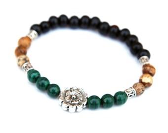 Malachite Bracelet, Jasper Bracelet, Reiki, Healing, Pocket Mala, Chakra Bracelet, Yoga, Spriritual Gift for Her, Healing Crystals