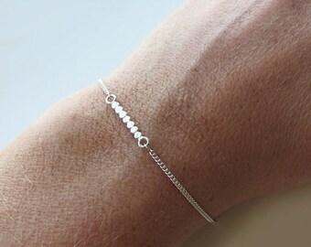 Fine Minimalist Silver Bracelet - Minimalist Jewelry - Trendy Chic delicate Jewelry - Handmade Jewelry