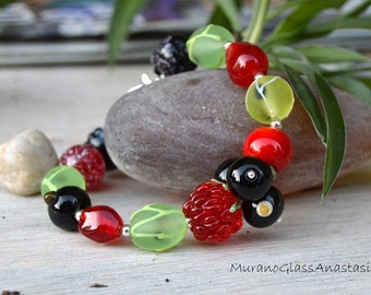 MADE TO ORDER Lampwork bracelets with glass berries made by MuranoGlassAnastasia