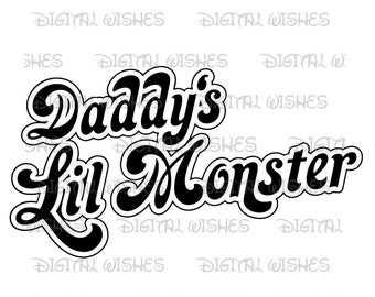 Harley Quinn Daddy's lil monster Digital Iron on transfer image clip art INSTANT DOWNLOAD DIY for Shirt