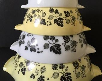Vintage Pyrex Yellow / Black Gooseberry Nesting Bowls...Mid Century Modern Cinderella Mixing Bowl Set...Country Kitchen Pyrex Bowls..