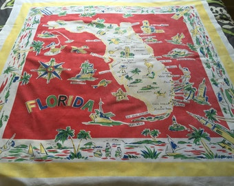 Vintage Florida Map Tablecloth..Mid Century Florida State Souvenir Tablecloth..Florida Tourist Tablecloth..1950's Primary Colors Tablecloth.