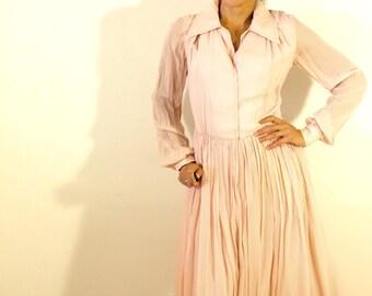 1950s Pink Chiffon Dress
