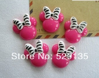 2pc minnie mouse pink zebra print resin cabochon diy