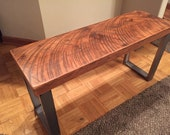 Industrial bench. Reclaimed wood bench.  Dining room  bench. Wood and steel bench. Entry bench. Free shipping. Old wood bench. Rustic bench.