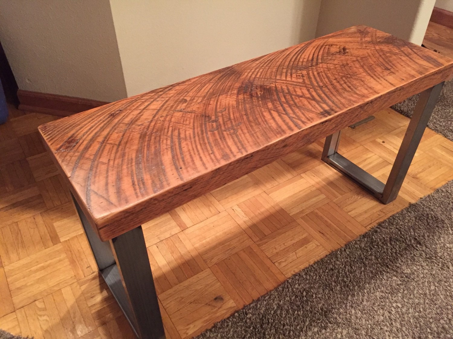 Solid Cherry Dining Room Table Industrial Bench Reclaimed Wood Bench Dining Room Bench