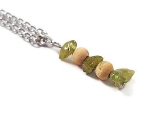 Handmade jewelry peridot, bohemian peridot pendant, energy stone necklace, healing crystal pendant, handmade bohemian necklace gemstone ayin