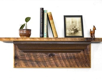 Rustic Barn Wood Mantel with Victorian Crown Molding - Floating Barn Wood Shelf - Reclaimed Wood Shelf - Country Floating Mantel