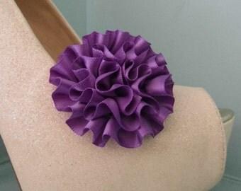 Beautiful Deeree Purple Rosette Style Shoe Clips