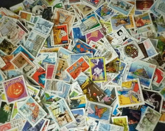 French  50 stamps - philately stamps used for collection, collage, altered art , scrapbooking