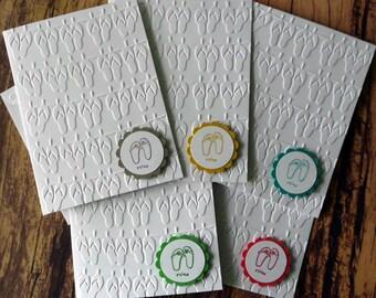 Flip Flop Cards, Set of 5, Embossed Flip Flop Cards, Blank Note Cards, Greeting Cards, Relax in Flip Flops Card, Stamped Summer Stationery