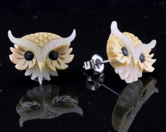 """Hand Carved - """"Royal Owl"""" - Gentawas Wood with Bone and Ebony Wood Inlay Stud Earring"""