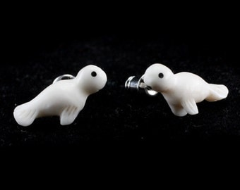 "Hand Carved - ""Baby Harp Seal"" - Bone with Horn Inlay Stud Earring - Marina Bay"