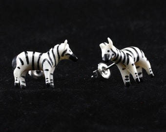 "Hand Carved - ""Zebra"" - Bone with Horn Inlay or Is It Horn with Bone Inlay Stud Earring - African Safari"