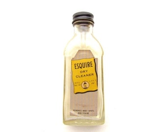 Vintage Esquire Dry Cleaner Bottle Early 1950s / - vintage glass bottle- collectible glass-collectible liquid clean#E099