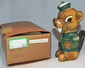 Circa 1950's Anri Babson College Beaver Mascot Hand Carved Statue with its original box - Mint Condition