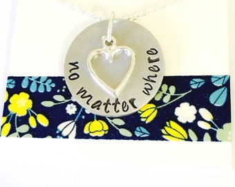Best Friends Necklace, No Matter Where Necklace Hand Stamped Sisters Necklace    Best Friends Necklace Mother and Daughter Necklace