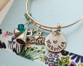 Cheerleader Bracelet, Cheer Bangle Bracelet, Cherleading Bracelet,  Personalized Name Bracelet, Little Girls Bracelet, Teen Bracelet