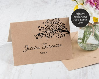 Printable Rustic Place cards (Foldover), Place cards with birds on a tree, Instant Download, Editable text, digital pdf, you print