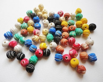 5 Round Rustic Bead, round clay bead, clay ball bead, rustic clay beads, tribal beads, african clay bead, handmade clay bead, porcelain bead