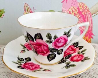 Vintage Pink Rose Fluted English Bone China Tea Cup & Saucer