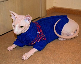 Bright blue Sphynx cat sweater Blue pets wearing Pink Stripes Soft Hairless cat clothes
