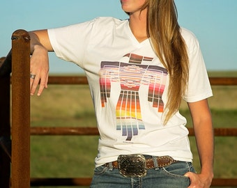Southwest Thunderbird v-neck unisex t shirt / poly-cotton graphic tee / native american / southwestern / serape / western graphic tee