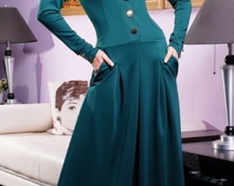 Long emerald dress. Fashion dress to the floor. Maxi dress for everyday women. Evening long dress.