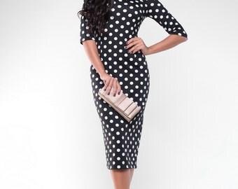 Polka dot elegant woman dress Classic jersey midi dresss Autumn women dress