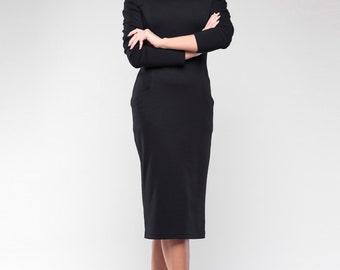 Black midi dress Elegant female dress Classic office black dress Spring Business Woman Dress