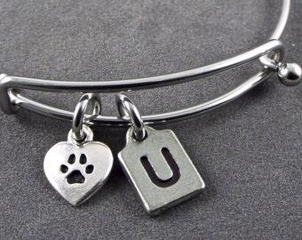 Pewter paw print bangle, paw print stainless steel bangle, love my dog heart charm, paw print bracelet, dog bangle, dog charm bangle initial