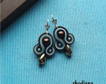 Turquoise & Bronze  Soutache Earrings