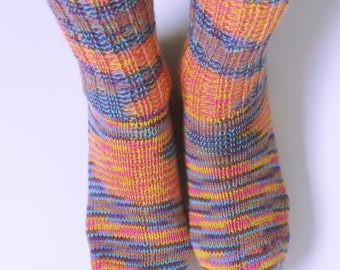 Hand Knitted Wool Socks for Women. Size 8-9. Regia Yarn. Jellybean Color.