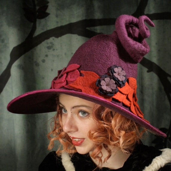 Fancy Witch Hat - Purple Witch Hat -  Curly Witch Hat - Large Brimmed Witch Hat - Autumn Witch Hat - Witch Hat With Leaves