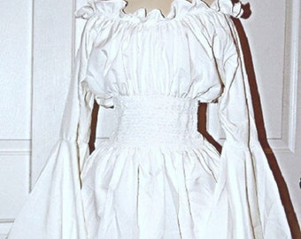 Renaissance Medieval Costume Mythic Blouse Ruffled Neckline Sorceress' Cuff White