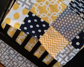 Custom Crib Bedding Set, Made to Order,  gray, yellow, navy, modern, crib skirt, sheet, baby blanket