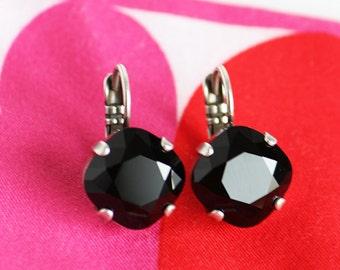Black Swarovski Crystal Earrings, 12mm Cushion Cut Drop Earrings, Jet Black Crystal Earrings, Lever Back Antique Silver Setting Earrings