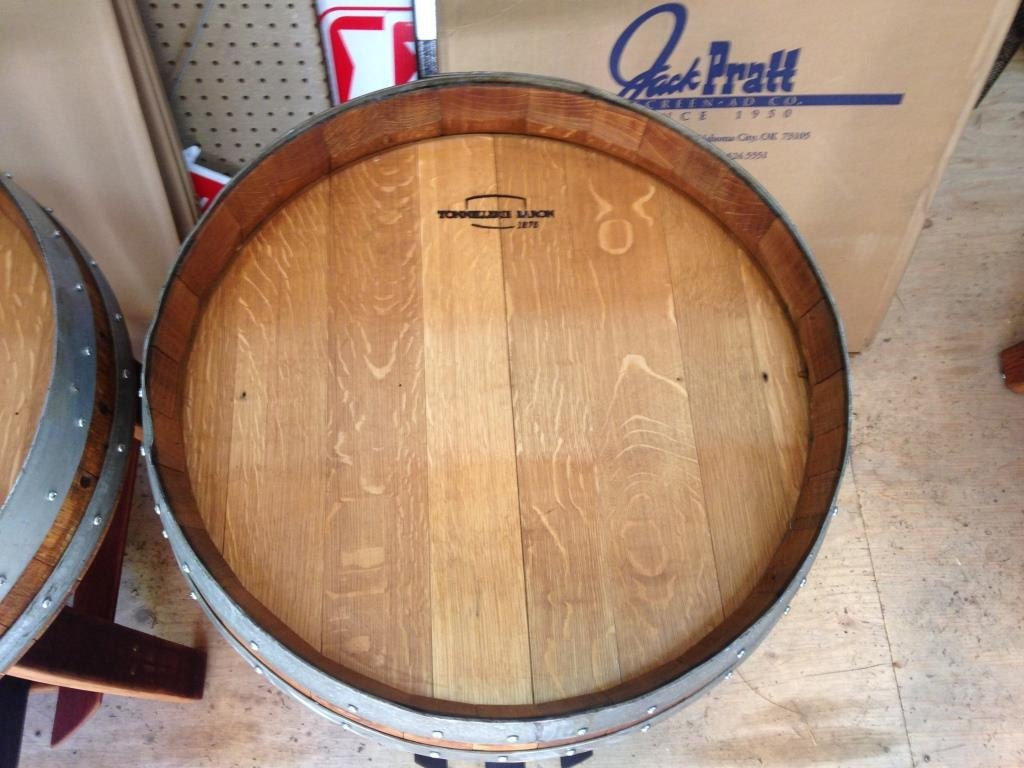 Wine Barrel End Table With Single Shelf