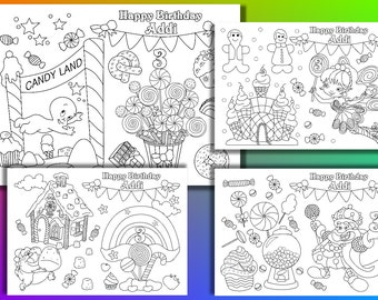 Candyland Birthday Party Coloring Pages Activity PDF File