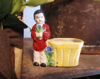 Vintage Porcelain Japanese Figurine with Planter Basket
