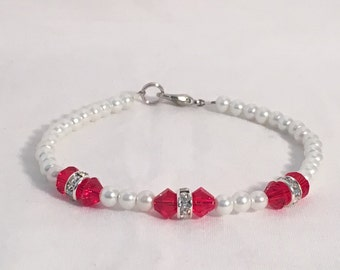 July birthstone bracelet, ruby birthstone bracelet, red bracelet, swarovski crystal bracelet, red beaded bracelet, pearl bracelet